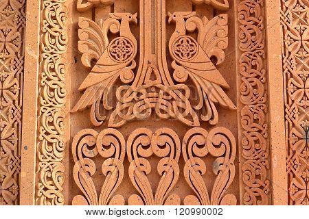 khachkar pattern on volcanic tuff texture traditional Armenian