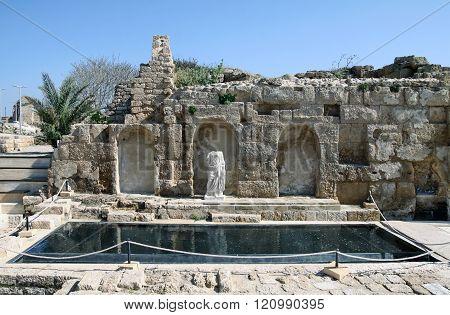 Ruins Of Crusader City In Caesarea