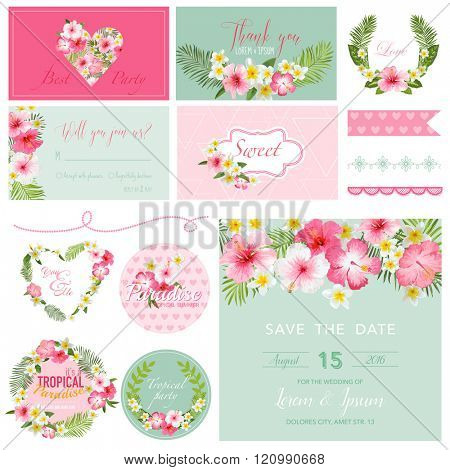 Scrapbook Design Elements - Tropical Flower Theme - in vector