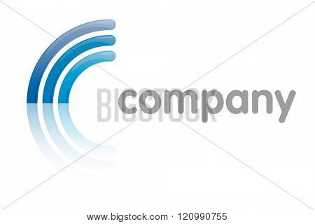 Three curves reflected to resemble letter C company logo template