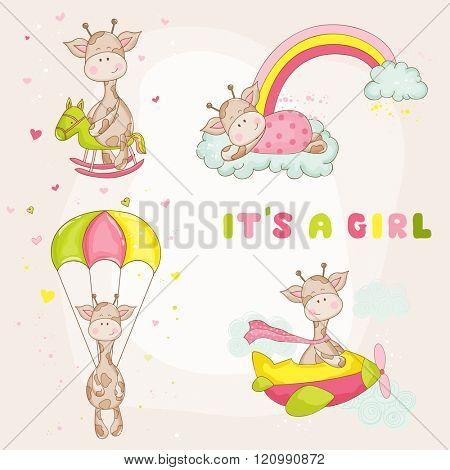 Baby Girl Giraffe Set - Baby Shower or Arrival Card - in vector