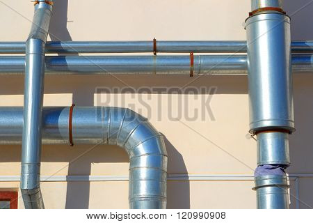 Industrial Pipes. Air Ventilation.