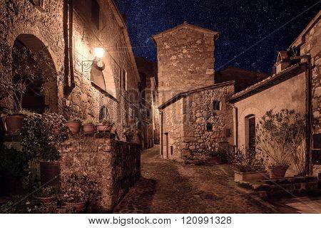 Sorano street at night