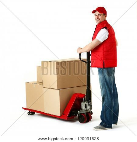 Delivery man with hand truck isolated on white background