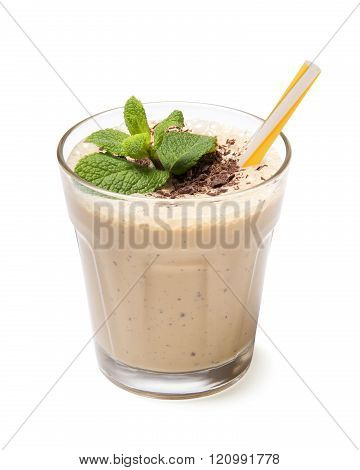 glass  chocolate smoothie isolated