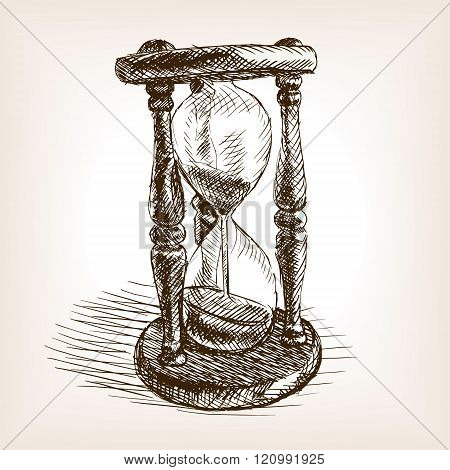 Hourglass hand drawn sketch vector