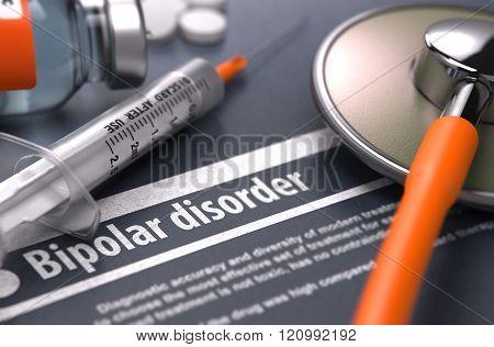 Bipolar disorder - Printed Diagnosis on Grey Background.