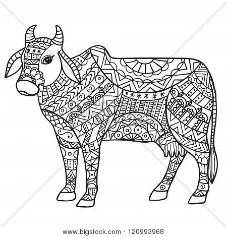 Cow Black and white doodle print with ethnic patterns.