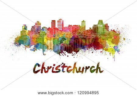 Christchurch Skyline In Watercolor