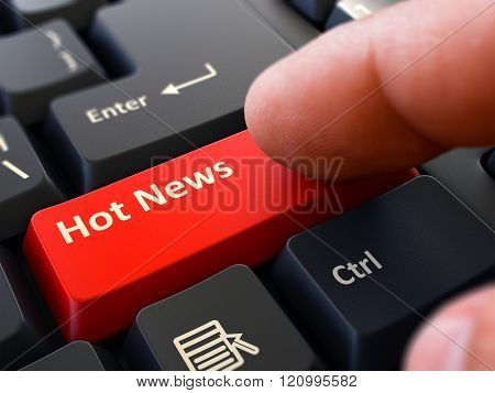 Hot News Concept. Person Click Keyboard Button.