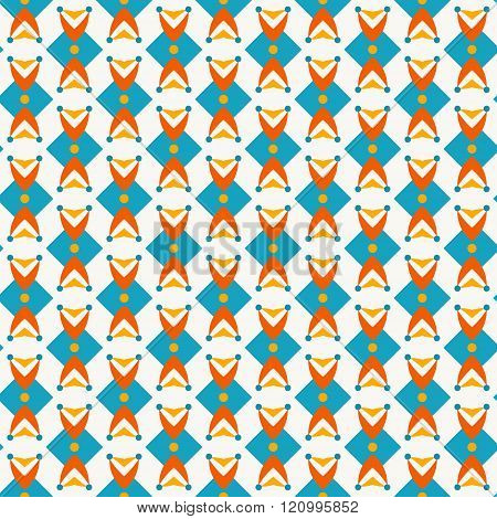 Pattern with abstract shapes in teal and orange colors. Seamless vector background. Retro wallpaper pattern.