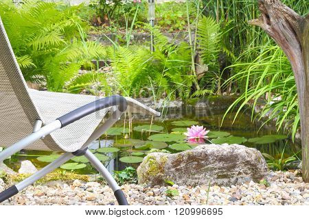 a Recliner chairs for the garden pond