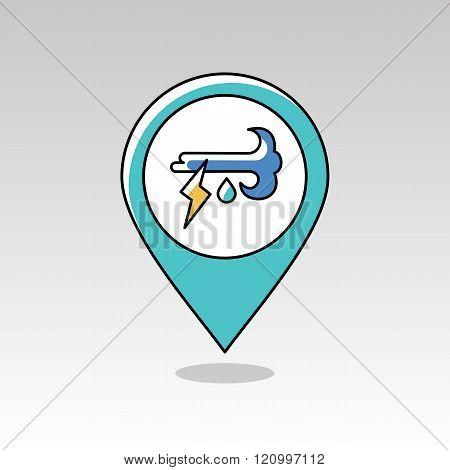 Wind Rain Lightning Pin Map Icon. Weather