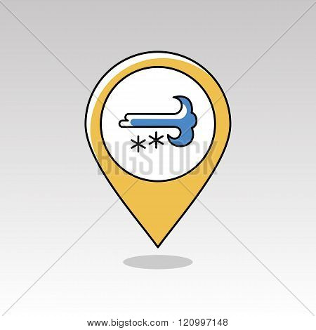 Wind Snow Snowstorm Pin Map Icon. Weather