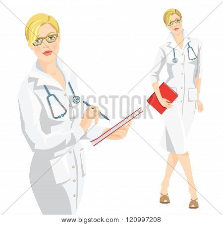 Blond woman in medical gown