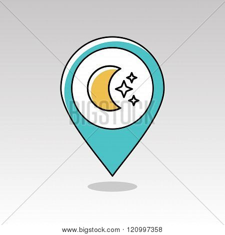 Moon And Stars Pin Map Icon. Meteorology. Weather