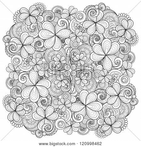 Vector Monochrome Hand Drawn Ornament With Decorative Clover And Coins