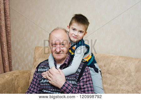Grand-dad With A Grandchild Play