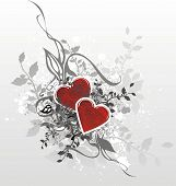 stock photo of broken heart flower  - abstract valentines illustration with red hearts and decorative floral design elements - JPG
