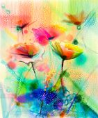 Постер, плакат: Abstract Flower Watercolor Painting