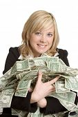 foto of holding money  - Woman Holding Money - JPG