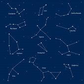 Постер, плакат: Constellations: Cassiopeia Big Dipper Cepheus Lyra Grus Cygnus Triangulum Cetus Corona Borea