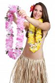 stock photo of hula dancer  - Hawaiian woman giving tropical lei - JPG