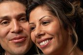 image of native american ethnicity  - Young couple smiling for the camera - JPG
