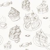 Постер, плакат: Cake seamless pattern