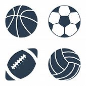 Постер, плакат: Sport Balls On Black Background Sport Balls Set Collection Sports Balls