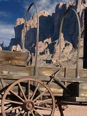 image of superstition mountains  - old western wagon at the base of superstition mountain - JPG