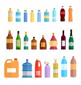 Постер, плакат: Bottle Set Design Flat Oil and Beverage