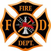 pic of fire  - Six color illustration of a fire department cross symbol - JPG