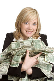 image of holding money  - Woman Holding Money - JPG