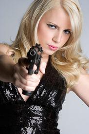 stock photo of girls guns  - Gun Woman - JPG