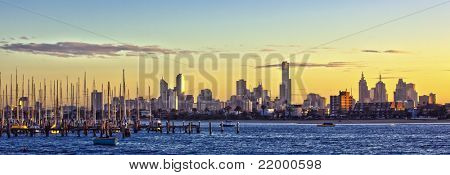 Melbourne, Australia, at dawn, viewed from St Kilda.