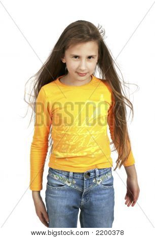 Young Girl With A With Long Hair