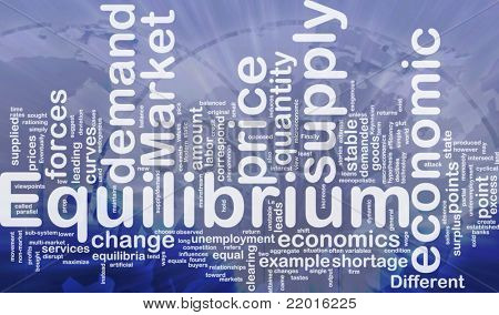Background concept wordcloud illustration of equilibrium international