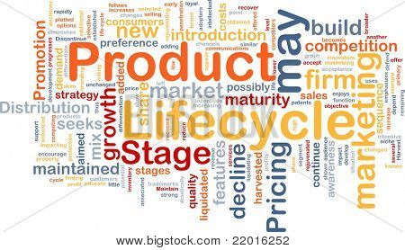 Background concept wordcloud illustration of business product lifecycle