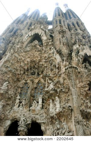 Facade Of Sagrada Familia Cathedral In Barcelona