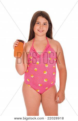 Girl In Swimsuit Holding Sun Lotion