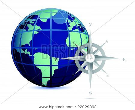 Navigation concept globe and compass illustration
