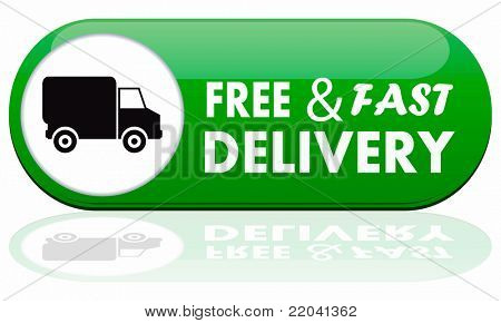 Free and fast delivery banner on white