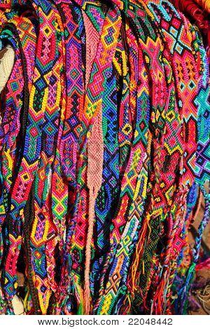 Chiapas Mexico handcrafts colorful belts and bracelets