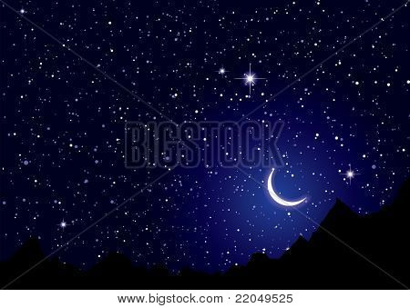 Dark space nights sky with silhouette mountains