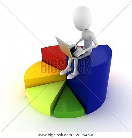 3d man sitting on a colorful business graph