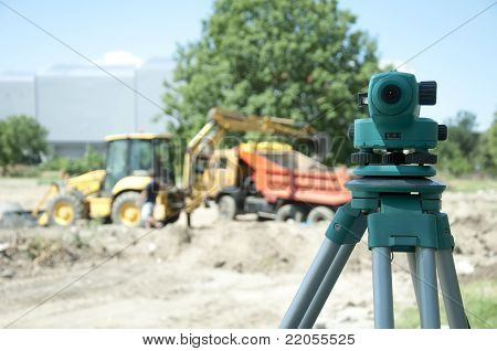 Surveying Equipment To The Construction Site