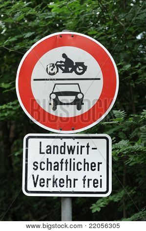 Traffic Sign Cars And Motorbikes Forbidden