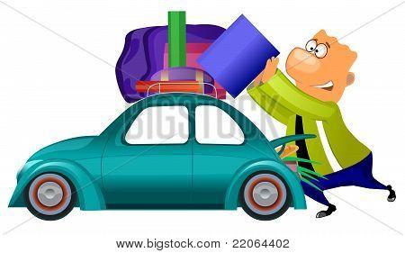 man preparing to travel by car