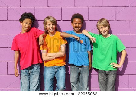 group of diverse mix race kids